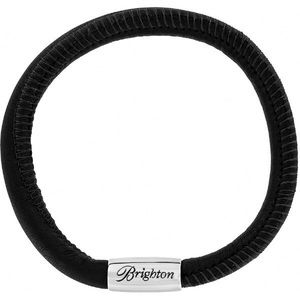 Brighton Black Leather Woodstock Magnetic Bracelet